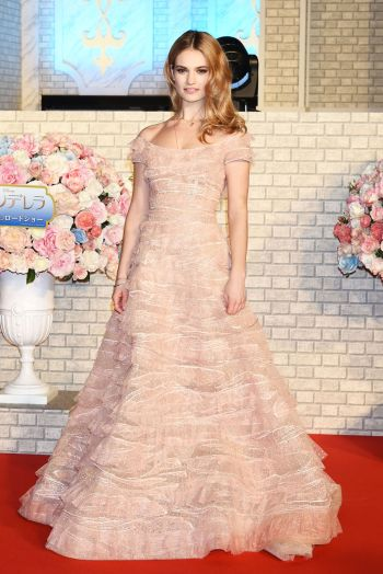 Lily James in Elie Saab via Fashionista