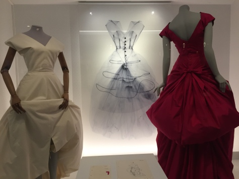 The gowns were shown as an x-ray, the muslin toile, and the finished product rotating so you could see all angles