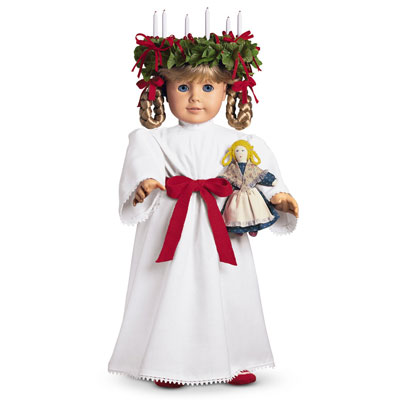 Our family's Kirsten is dressed in her St Lucia outfit and displayed as a Christmas decoration to celebrate our Swedish heritage. Via American Girl Wiki